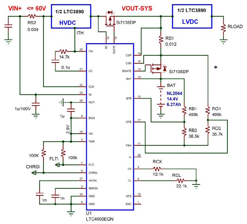 采用LTC3890和LTC4000高电压控制器实...