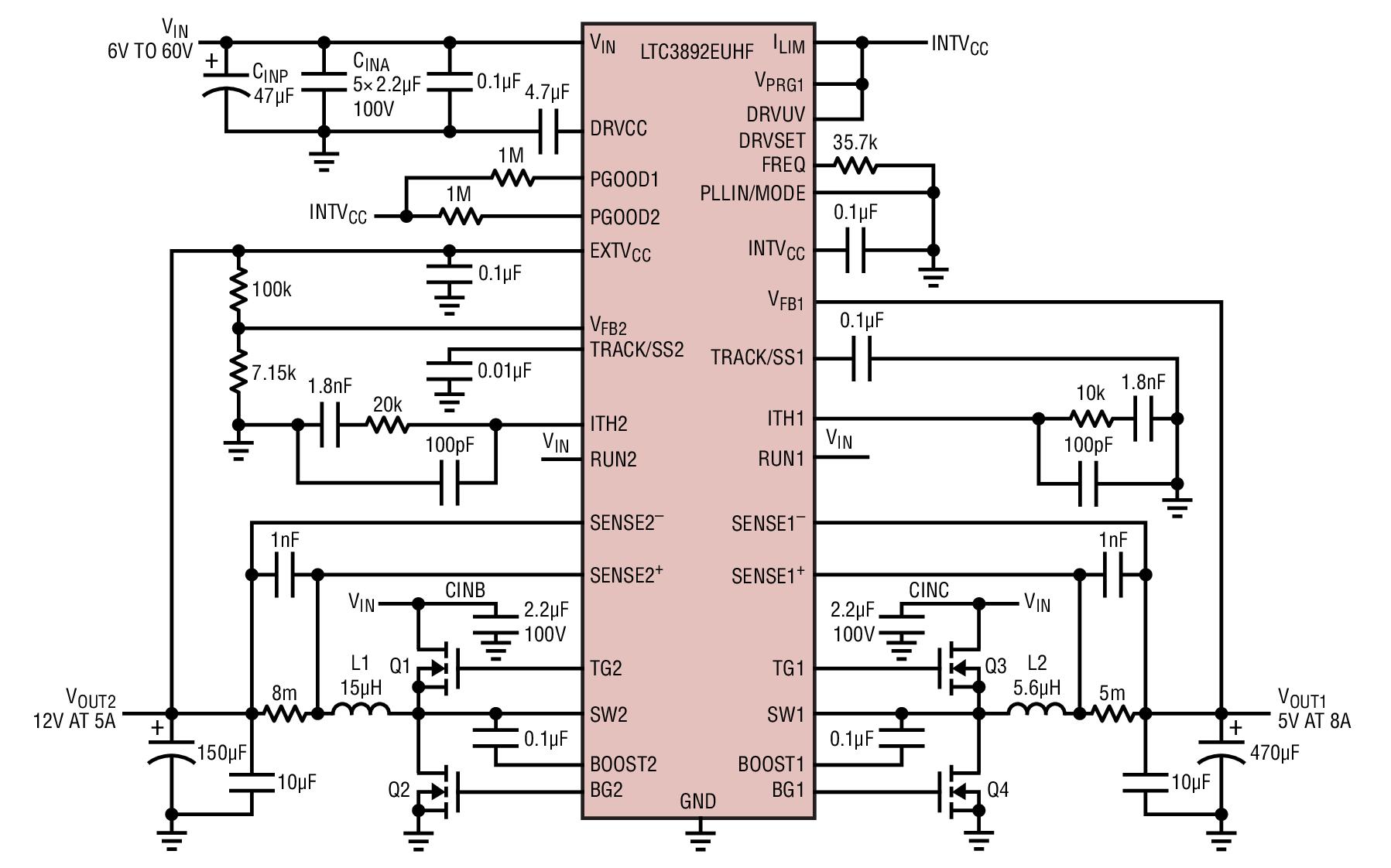 LTC3892双输出同步降压型控制器的应用解决方案