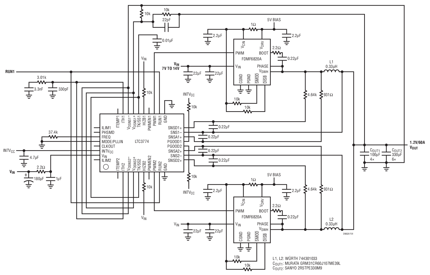 利用LTC3774双相降压型控制器改善电路的负载电流与效率