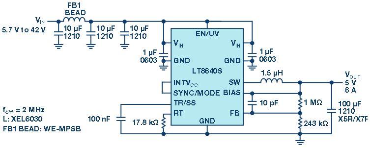 为汽车设计高效率和超低EMI的高效降压型稳压器