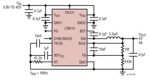 通过LT8614静音开关稳压器降低设计电路的EMI并提高效率