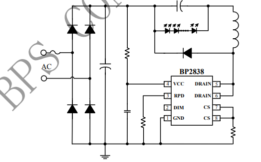 BP2838 PWM调光非隔离降压型LED恒流驱动芯片的数据手册免费下载