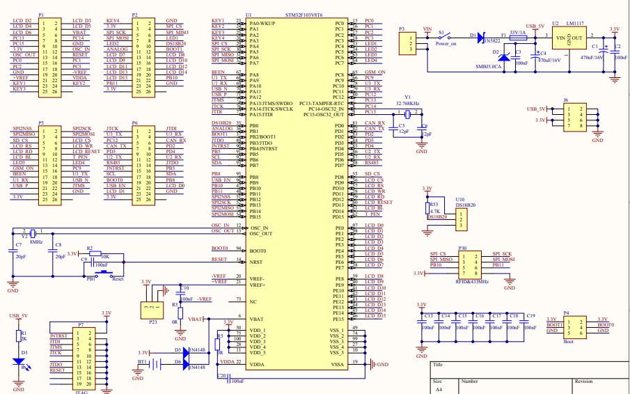 STM32单片机开发板电路原理图免费下载