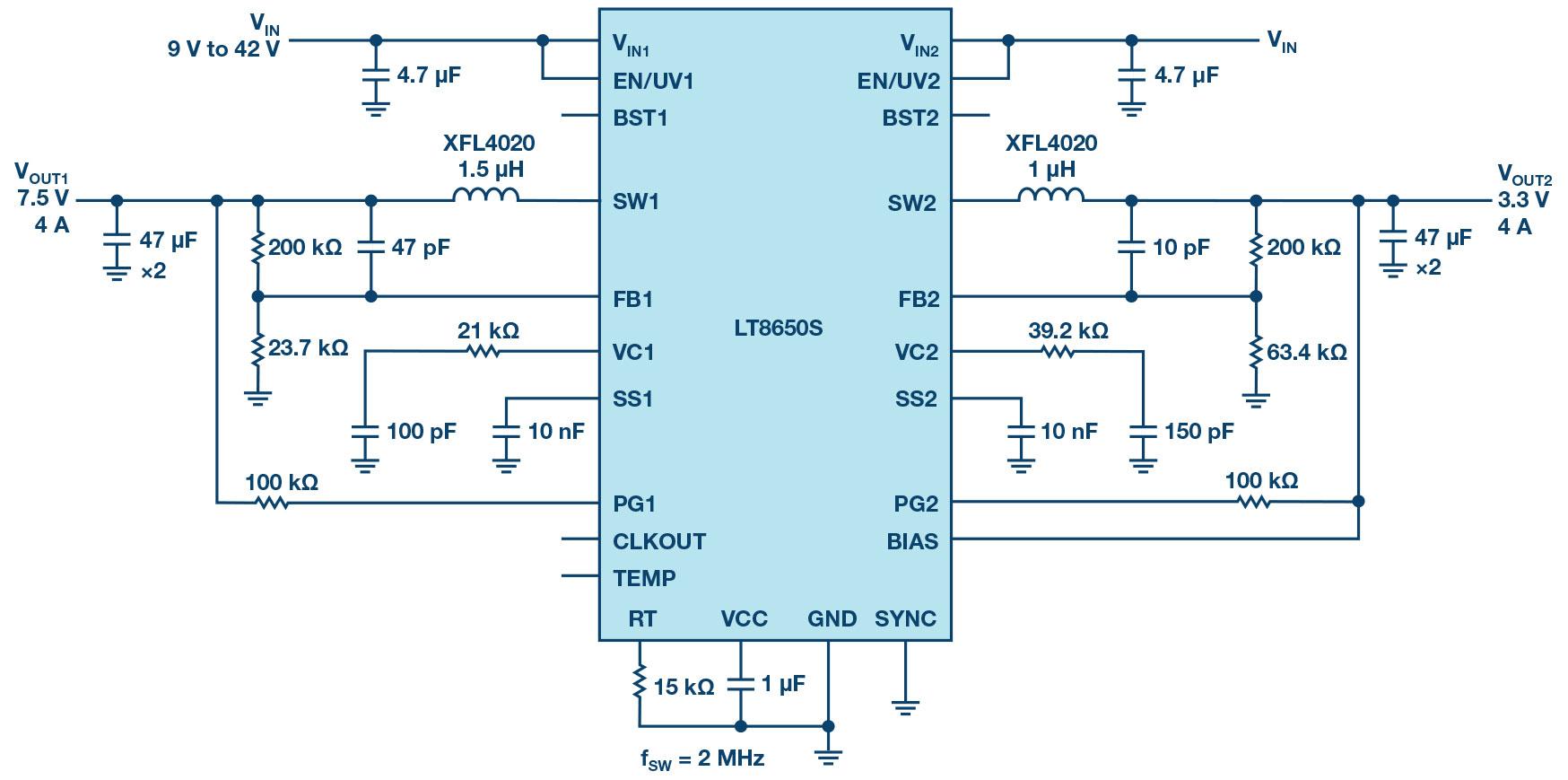 应用于汽车和工业的LT8650S双通道稳压器