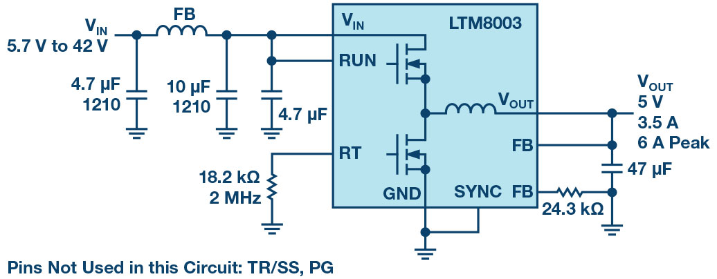 面向汽车和工业应用噪音的LTM8003解决方案