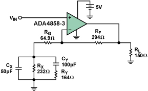 采用ADA4858-31驱动并均衡100米的VGA电缆的解决方案