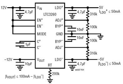 LTC3260反相电荷泵DC/DC转换器的电源效率与噪声解决方案