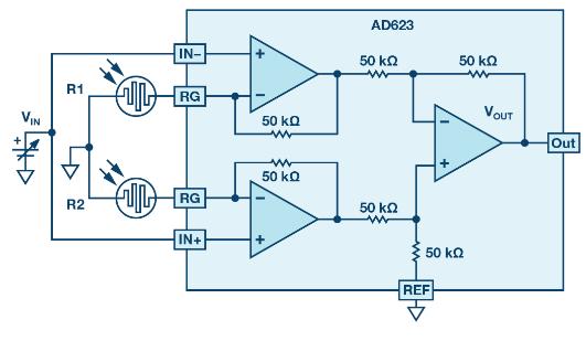 如何使用仪表放大器测量两个光源之间的强度