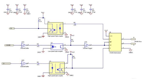 RS-485光耦合器实现电流隔离