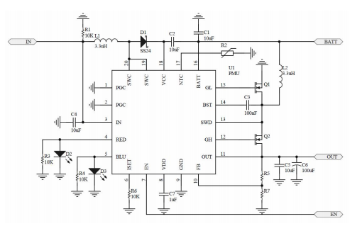 JH5500 100W同步升压和双节锂电充电管理电路的数据手册免费下载