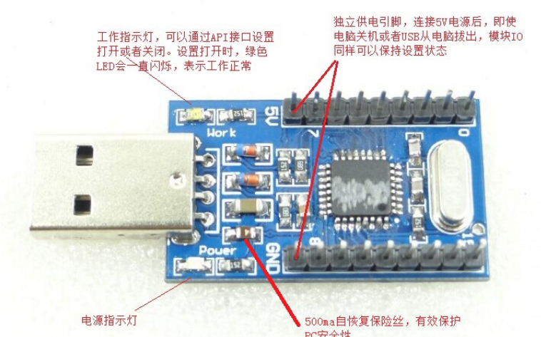 USB IO卡的详细资料及测试程序说明