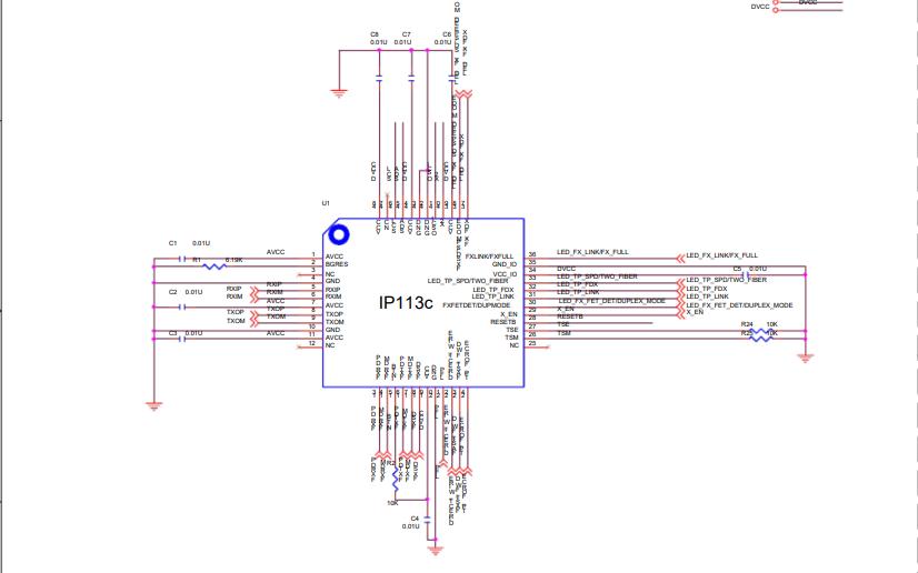 IP113C光纖收發器電路原理圖免費下載