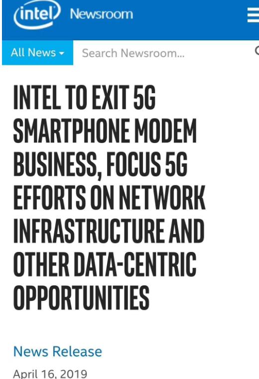 英特爾宣布將退出5G智能手機調制解調器業務