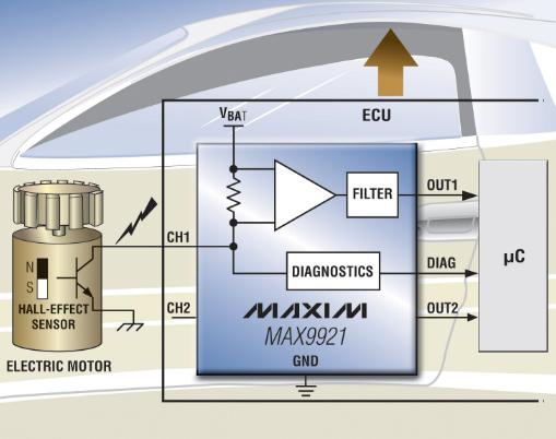 Maxim推出了双路2线霍尔传感器接口IC MAX9921单芯片方案