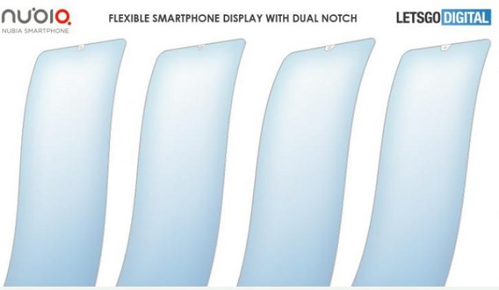 努比亚异形柔性屏设计专利曝光采用了双刘海