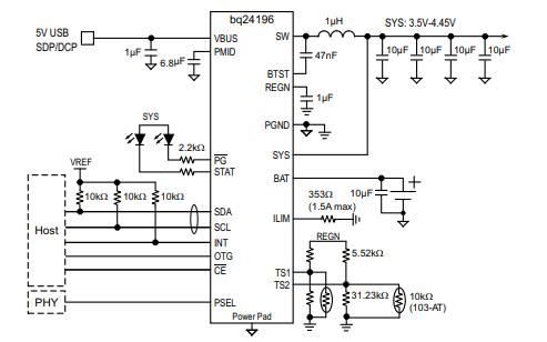BQ24196开关式电池充电管理和系统电源路径管理设备