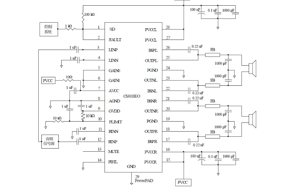 CS3818立体声高效D类音频功率放大电路的数据手册免?#20005;?#36733;