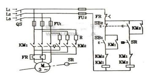 该线路的主电路和正反转控制线路的主电路相同,只是在反接制动时增加