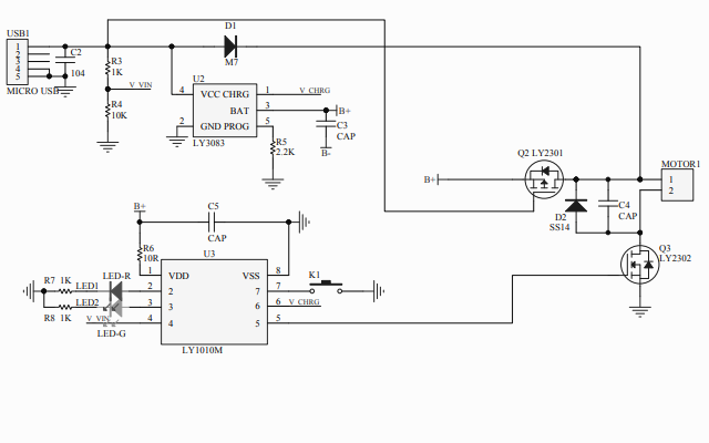 USB小风扇IC方案电路原理图免费下载