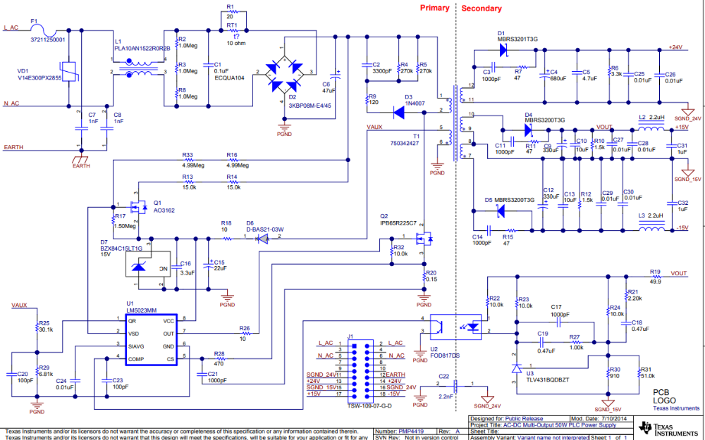 PMP4419多轨ACDC电源的电路原理图免费下载