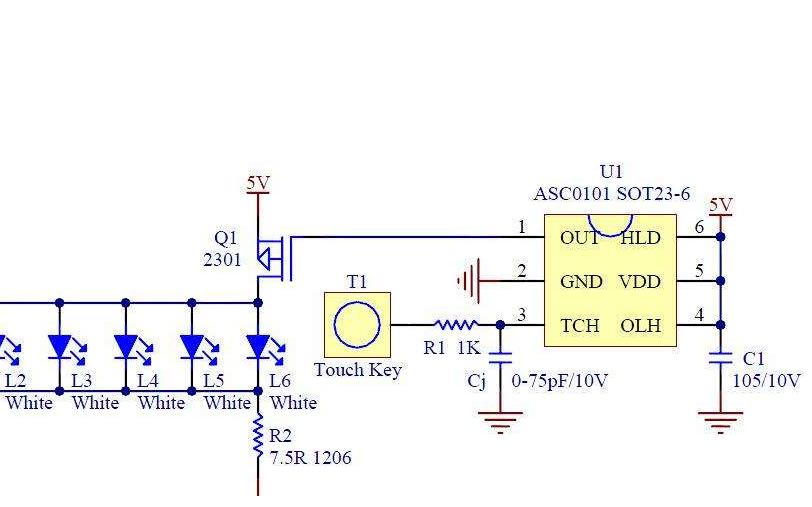 触摸台灯的PCB原理图免费下载