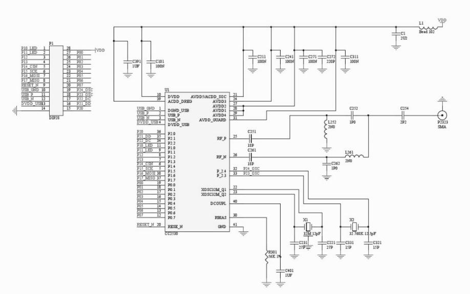 CC2530开发板的电路原理图免费下载