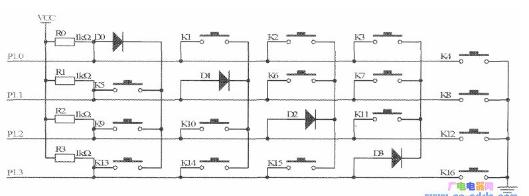 51单片机4个I/O口实现16个键盘原理的设计