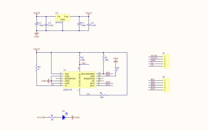 ADXL345模块进行IIC测试的程序和ADXL345原理图及中英文数据手册