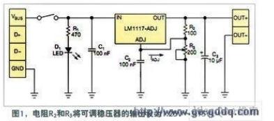 如何用USB端口做为外部电路给其它设备供电