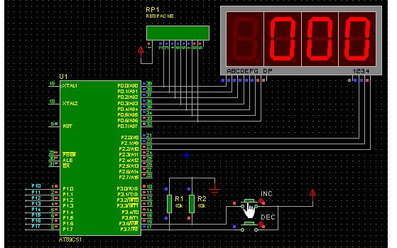 数码管动态显示中断的C语言程序和proteus仿真资料说明