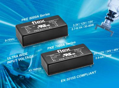 Flex电源模块面向工业和铁路应用推出超宽输入DC-DC转换器