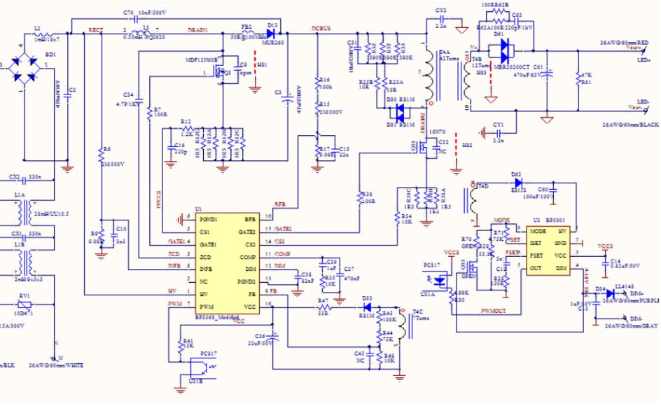 BP3368恒流驱动电源的测试报告原理图和物料清单及变压器工艺说明书