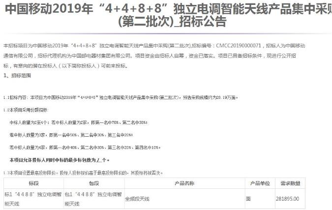 中国移动正式发布了2019年4+4+8+8独立电调智能天线产品集中采购公告