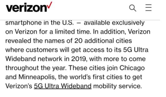 Verizon宣布将在20个城市中部署5G超宽带移动服务