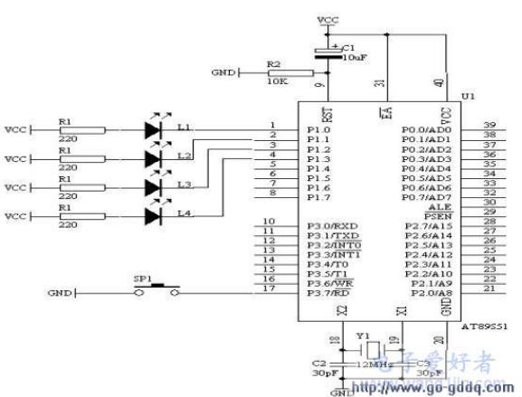 AT89S51单片机发光二极管多功能闪烁的设计