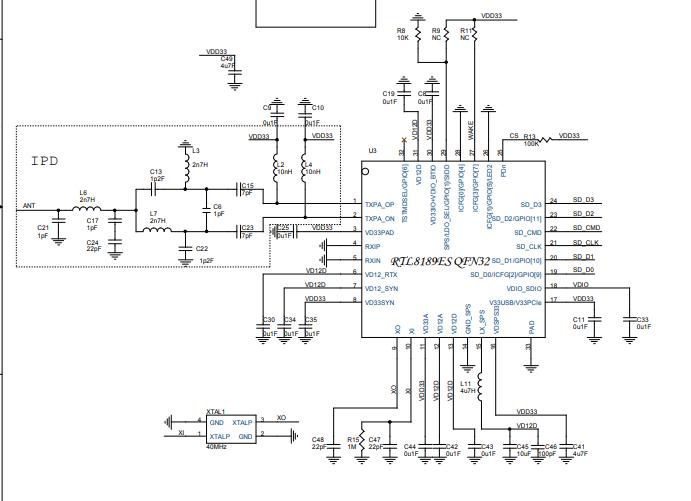 RTL8189 FTV WLAN网络SDIO接口控制器的电路原理图免费下载