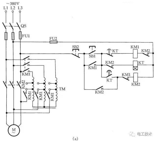 八,自耦变压器手动启动控制    自耦变压器手动启动控制线路如图8所示