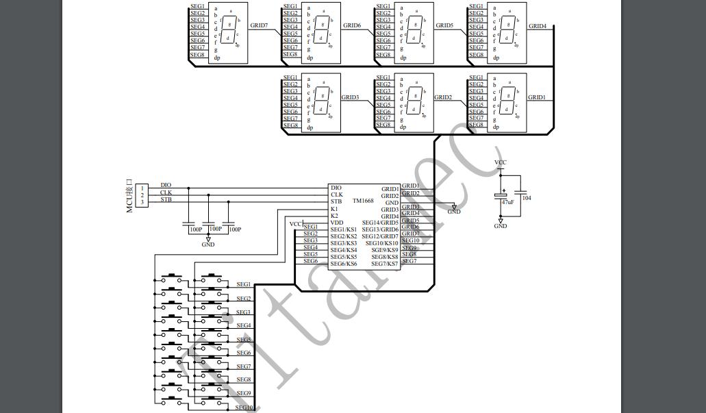TM1668 LED驱动控制专用IC的数据手册免费下载