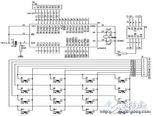 AT89S51單片機對4×4矩陣鍵盤的控制設計
