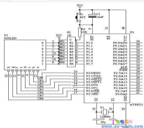 AT89S51单片机对8X8点阵LED的控制设计