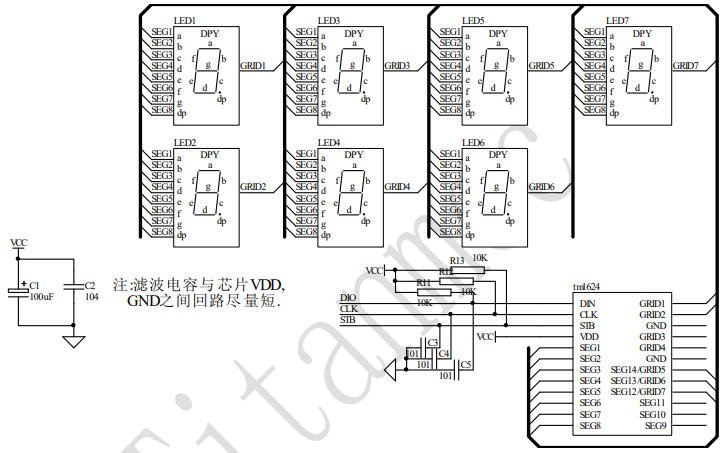 TM1624 LED驅動控制專用電路的數據手冊免費下載