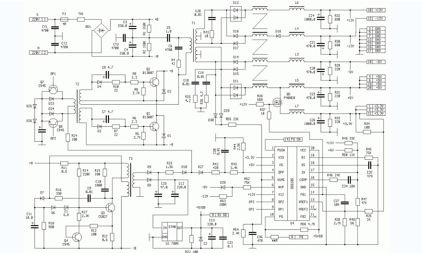 atx250 sg6105电脑电源的电路原理图免费下载