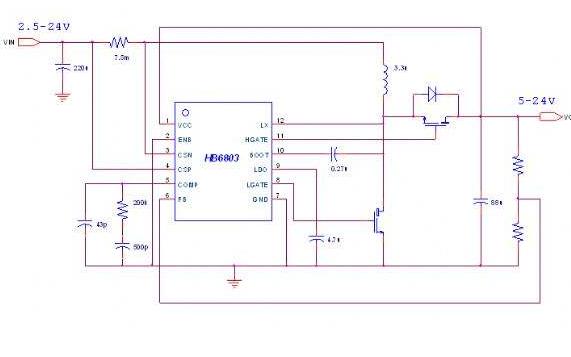 大功率的同步升壓芯片Hb6803應用指南資料免費下載