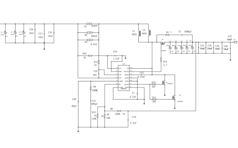 hb6803大功率的同步升压芯片的电路图免费下载