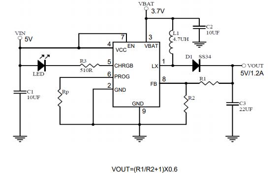 PJ5902带1A线性充电器和1.2A升压转换器的电源组IC数据手册免费下载