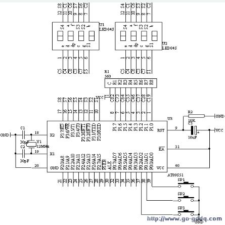 89C52单片机电子时钟的设→计