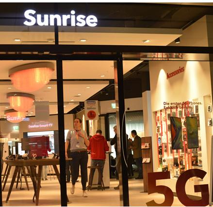 华为助力瑞士运营商Sunrise推出了瑞士首批5...