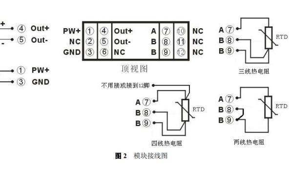 PT100轉4-20mA熱電阻溫度信號隔離變送器DIN導軌安裝式的資料說明