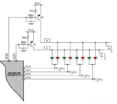 如何利用MAX6972–MAX6975 LED驱动器设计复用LED电路