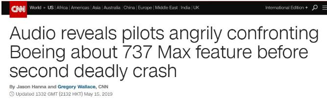波音737Max飛機的兩件墜毀事故均與該系統相關